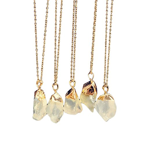 1PC Natural Stone Crystal Rock Necklace Gold Plated Quartz Pendant (Yellow)