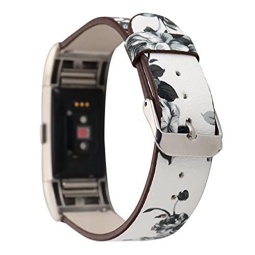 Bracelet Printed Pattern (Leather Band for Fitbit Charge 2,New Flower Print Pattern Wrist Bands Strap Bracelet Replacement Watchband Accessories for Fitbit Charge 2 Smartwatch Fitness Tracker (White+ Gray))
