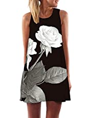 WSJTT Women Dress Summer Sleeveless Dresses Ladies (Size : M)