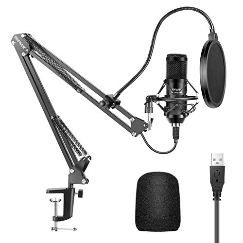 Neewer USB Microphone Kit 192KHZ/24BIT Plug&Play Computer Cardioid Mic Podcast Condenser Microphone with Professional Sound Chipset for PC Karaoke/YouTube/Gaming Record, Arm Stand/Shock Mount (Black)
