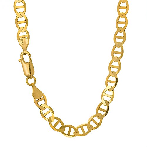 JewelStop 14k Solid Yellow Gold 3.2 mm Mariner Anklet, Lobster Claw Clasp 10 Inche