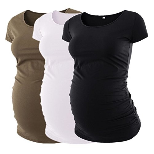 Liu & Qu Womens Maternity Classic Side Ruched T-Shirt Tops Mama Pregnancy Clothes