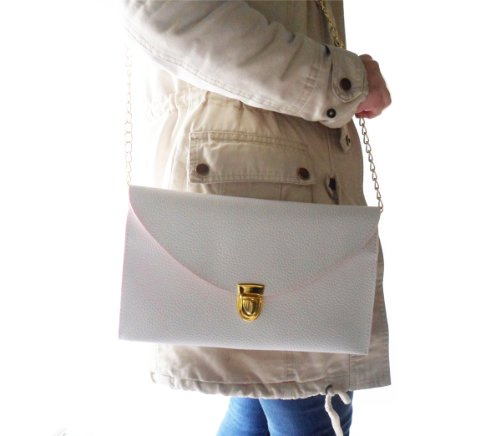 Dayiss® Süß Weiß Damen Envelope Style Clutch Messenger Umhängetasche Handtasche Geldbörse Tasche