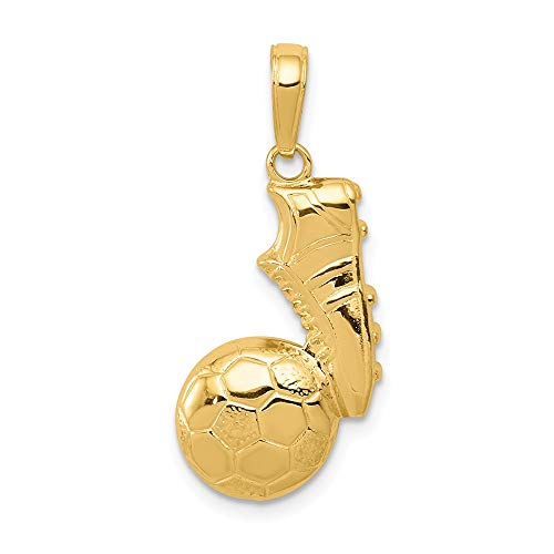 14k Yellow Gold Soccer Ball Shoe Pendant Charm Necklace Sport Man Fine Jewelry Gift For Dad Mens For Him ()