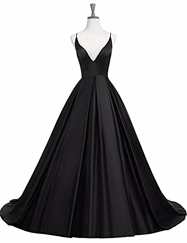 Straps Neck Black Dress Prom Formal Evening Satin V Women's Gowns Long Dressylady Backless FqREtt