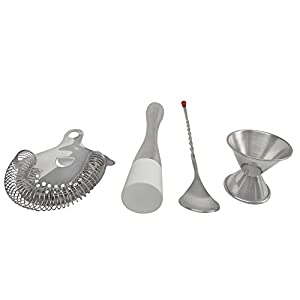 4-piece Barware Tool Set - Cocktail Muddler Large 8.5-inch Stainless Steel Flat Nylon Head, Jigger Double Measuring Cup, 11-inch Mixing Spoon with Red knob and Drink Strainer.