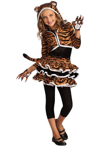 Tiger Print Gloves - Tigress Hoodie Costume - Girls