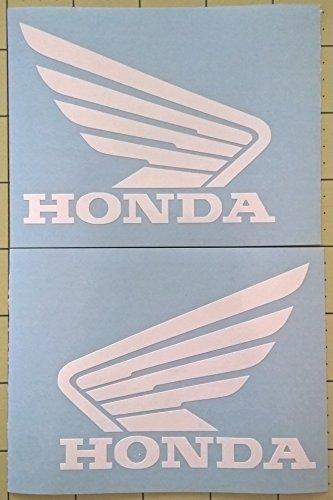 Set of 2 Honda Wing Tank Decals Gloss White (Honda Atv Decals)