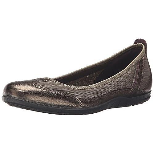 Ecco Footwear Womens Bluma Summer Ballerina Ballet Flat, Licorice  Metallic/Tarmac, 40 EU/9-9.5 M US