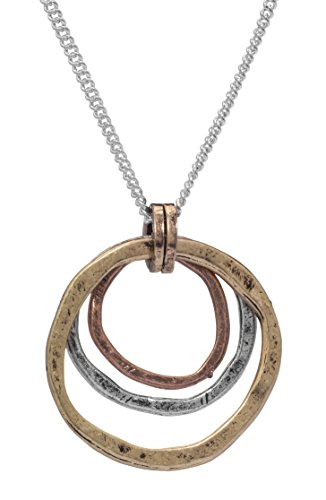 Of Earth and Ocean Handmade Sunrise Pendant Necklace, Triple Circles in Tri-Tone Copper, Brass and Silver