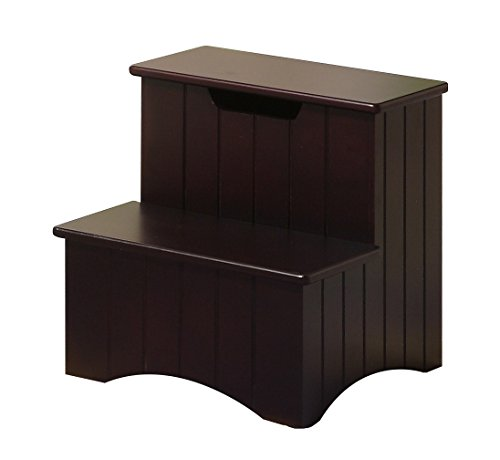 Kings Brand Dark Cherry Finish Wood Bedroom Step Stool With Storage - Cherry Wood Finish Bed