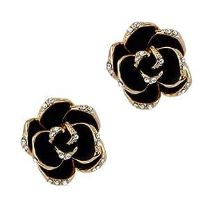 Lux 18 K chapado en oro rosa de imitación de color negro con rosa Pendientes de palanca de la espalda
