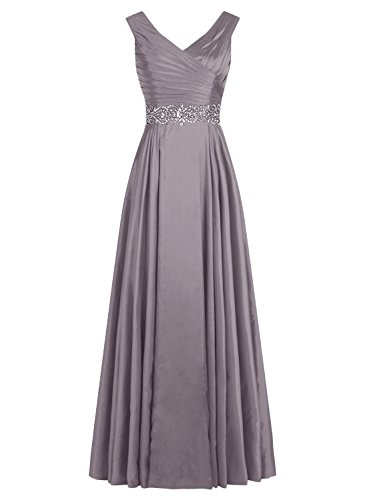 ALAGIRLS Long V Neck Prom Dress Pleats Satin Beading Evening Gowns Grey US6
