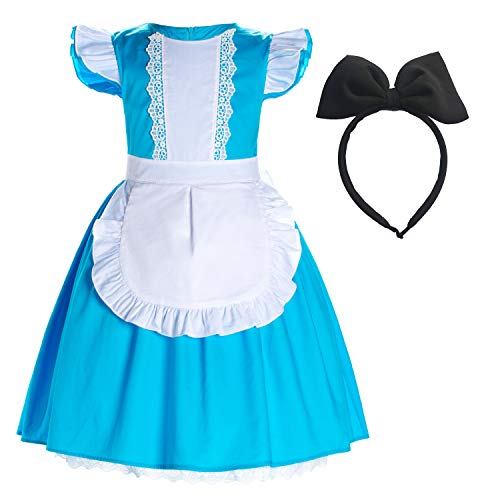 Party Chili Princess Alice Costume Cotton Dress for Toddler Girls 5-6 Years (5T 6T) -