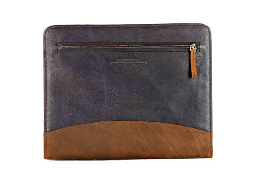 Document Leather Portfolio (The Leather Warehouse Men/Women Handmade Office Folder Multipurpose Cow Leather Padfolio/Resume Portfolio Folder - Interview/Legal Document Organizer & Business Card Holder Black and Brown)