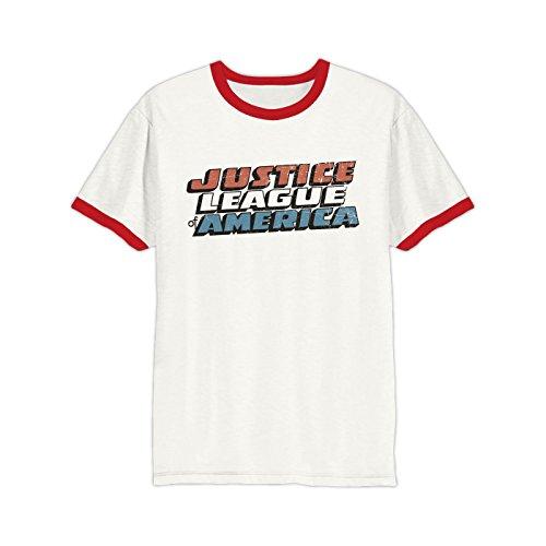 JUSTICE LEAGUE - Vintage Logo Ringer-Shirt (Unisex)