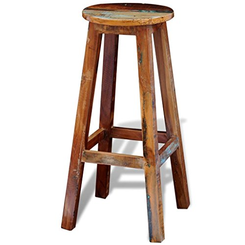 Festnight Round Bar Stools Reclaimed Wood Barstool with Footrest Counter Height Pub Chair Kitchen Dining Room Bistro Cafe Furniture 12