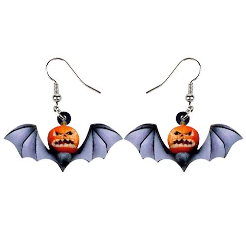 NEWEI Acrylic Halloween Sweet Pumpkin Bat Earrings Drop Dangle Anime Fashion Jewelry Charms for Women Girls Gift -