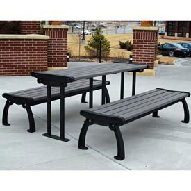 (Heritage Picnic Table, Recycled Plastic, 6 Ft, Black & Gray)