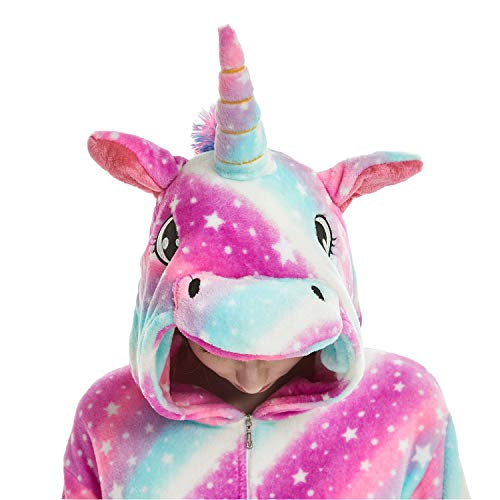 Kids Fleece Onesie Unicorn Pajamas Animal Halloween Cosplay Costume (B-Purple Unicorn, 140# Height(51-56 inch))
