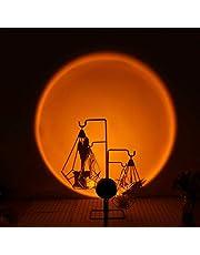 JLIKET 2PCS Sunset Lamp 90 Degree Rotate Rainbow Floor Lamp & Sunset Projection Lamp for Romantic Decor, Rainbow Projection Lamp for Gaming Room, Living Room, Bed Room