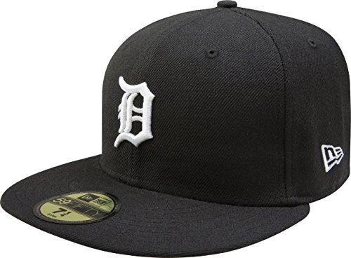(MLB Detroit Tigers Black with White 59FIFTY Fitted Cap, 7 3/8)