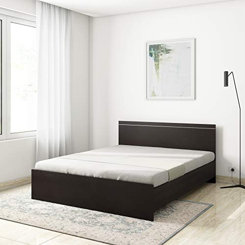Amazon Brand   Solimo Esther Engineered Wood Queen Bed Wenge Color