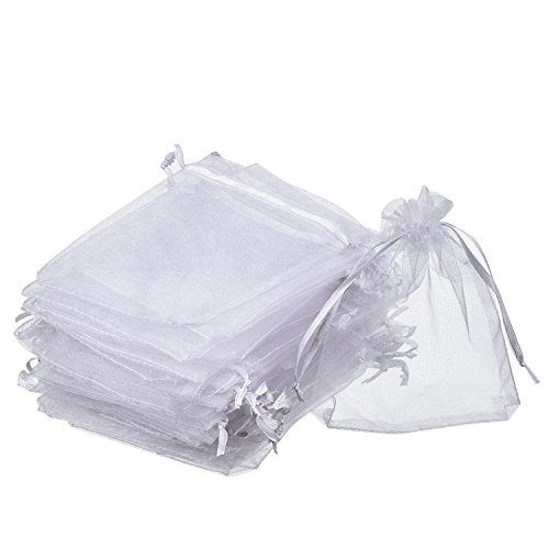 Eschone White Organza Drawstring Gift Pouch Wrap Favor Bag for Party Wedding (50 pack,4 x 4.72 Inches)