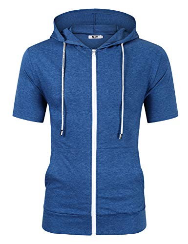 Men's Pullover Hoodie Jacket Hooded Sweatshirt Letter Print Casual Fit Long Sleeve Pullover with Kanga Pocket (2XL, Short Sleeve-Blue) ()
