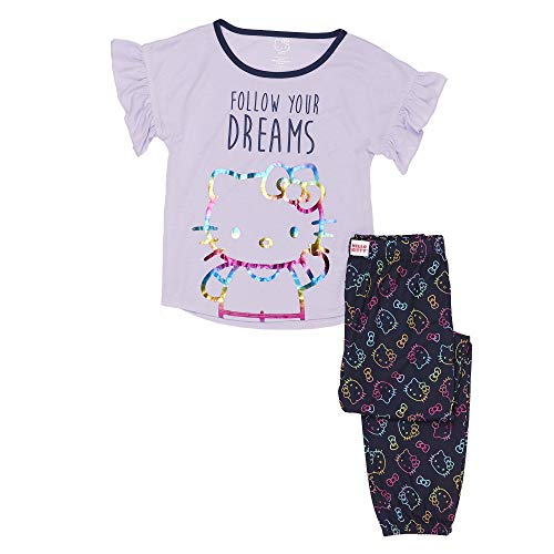 Hello Kitty Girls' Big 2 Piece Jersey Pajama Set, Lilac Large -