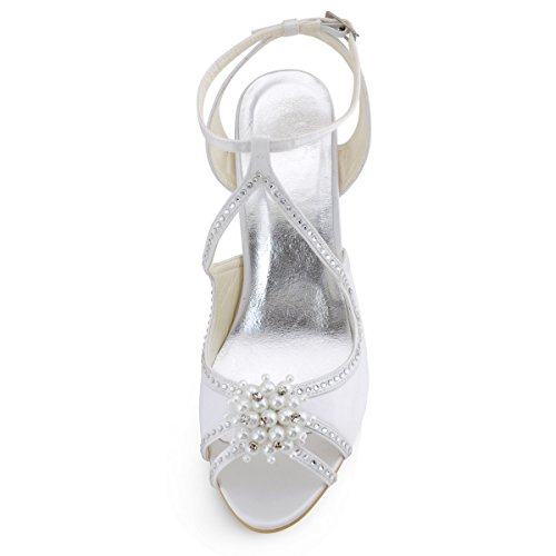 Perlas ElegantPark Zapatos Blanco Recortes Rhinestone Tacones EP11058 de Mujeres Bombas boda Peep Satén corte Sandalias de Toe altos wwnTAqgxC