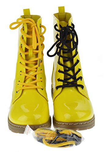 Lace Up Gogo Boots (SHOEDEZIGNS Shoe Dezigns Declyn 01 Womens Patent 2 Color Lace Combat Boots Yellow)