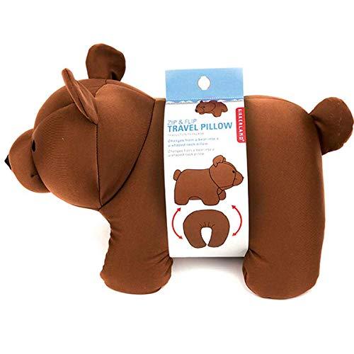 - Kikkerland Brown Bear Zip & Flip Travel Pillow, 1 EA