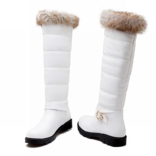 Show Shine Womens Fashion Buckle Flats Boots Tall Boots White l2p7MDL