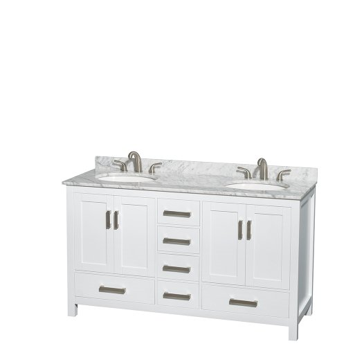Wyndham Collection Sheffield 60 inch Double Bathroom Vanity in White, White Carrera Marble Countertop, Undermount Oval Sinks, and No Mirror (Carrera Marble Vanity Top With Sink)
