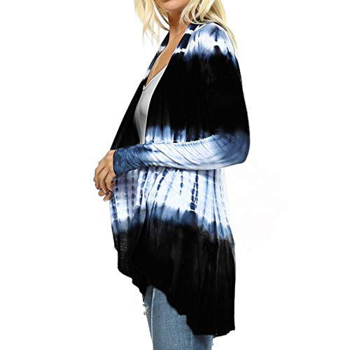 Fshinging Women Cardigan Tops, Tie-Dye Hi-Low Open Long Sleeve Asymmetric Top Blouse Autumn ()