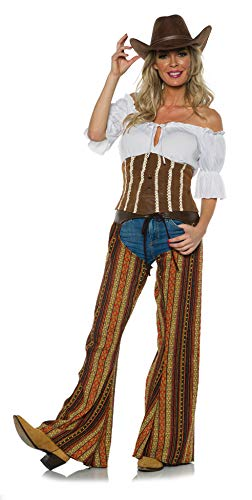 Underwraps Women's Western Cowgirl Costume-Bandit, Brown, Extra ()