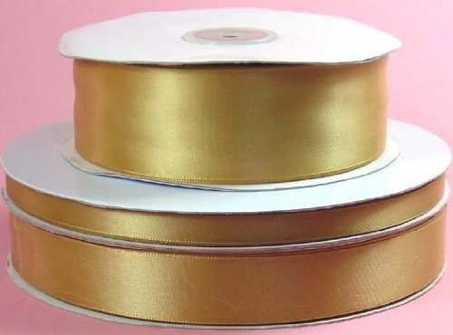 Gold Polyester Ribbon (Double Face ANTIQUE GOLD 100% Polyester Satin Ribbon 3/8 inch x 100 yards)