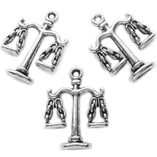 (Heather's cf 50 pcs Silver Pendant Balance Charm Pendants for Jewelry Making Balance)