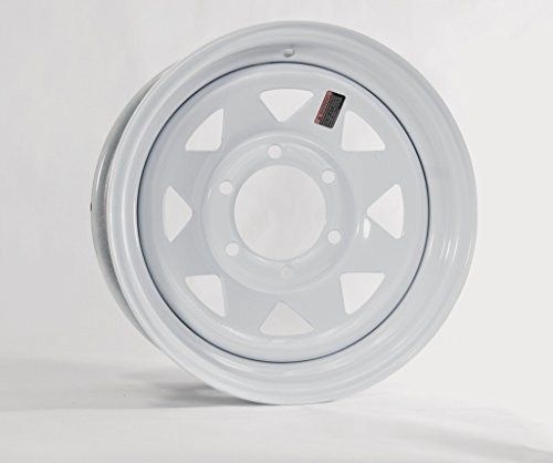 eCustomRim Trailer Wheel Rim 15x6 15 in. 6 Bolt Hole 5.5 in. OC White Steel Spoke ()