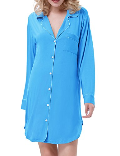 Women Cotton Nightgowns Long Sleeve Sleep Shirts Sky Blue Size 2XL ZE35-4