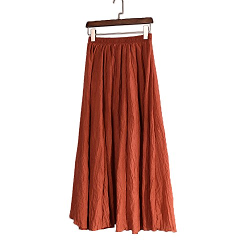 (DESDEMONA Women Full/Ankle Length Pleated Retro Maxi Flax Solid Long Skirt (Rust Red))
