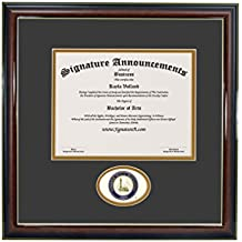 "Signature Announcements Indiana-State-University Doctorate Sculpted Foil Seal Graduation Diploma Frame, 16"" x 16"", Gold Accent Gloss Mahogany"