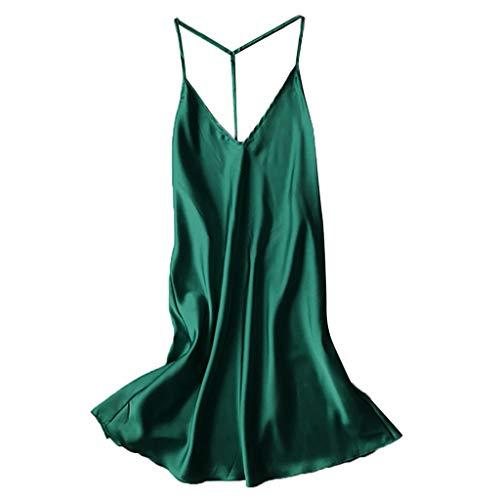 (Close-dole Women's Solid Color Sexy Pajamas T-Strap Strapless Nightdress Underwear Satin Silk Silk Tie Robe Doll Dress Green)