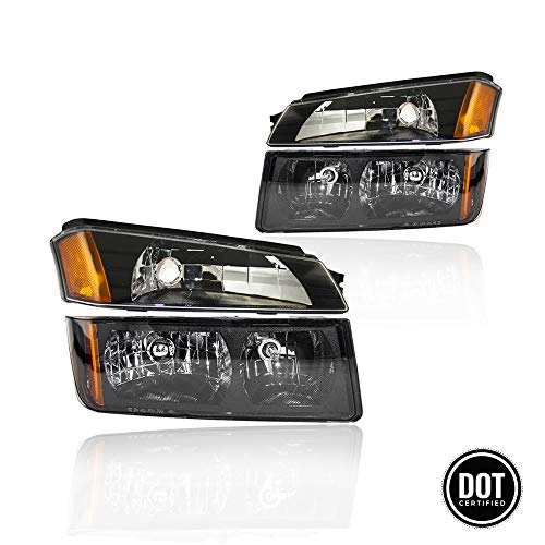 Replacement Headlight Assembly GCVAL02-G4 with Signal Lights, Black Housing Amber Refletor for Chevrolet Chevy Avalanche 2002-2006(Body Cladding)