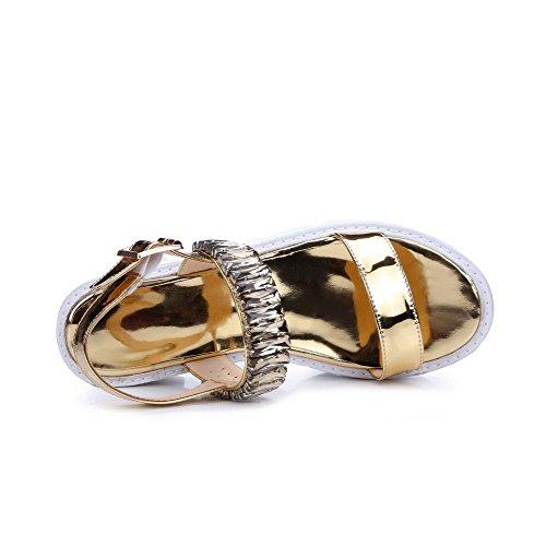 AmoonyFashion Womens Solid Pu Kitten Heels Open Toe Buckle Sandals Gold rSZJdMX