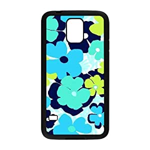 Blue Flowers Custom Cover Case for SamSung Galaxy S5 I9600,diy phone case ygtg611494
