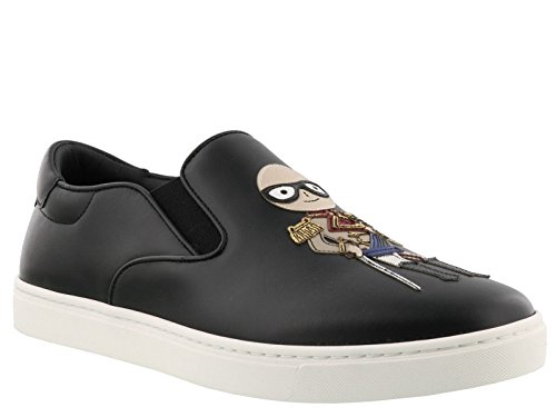 Dolce E Gabbana Herren Cs1365am0608s574 Zwart Leder Slip Op Sneakers