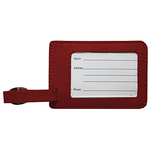 Custom Personalized Luggage Tag - Engraved Travel Gifts - Monogrammed for Free (Crimson) by My Personal Memories (Image #3)