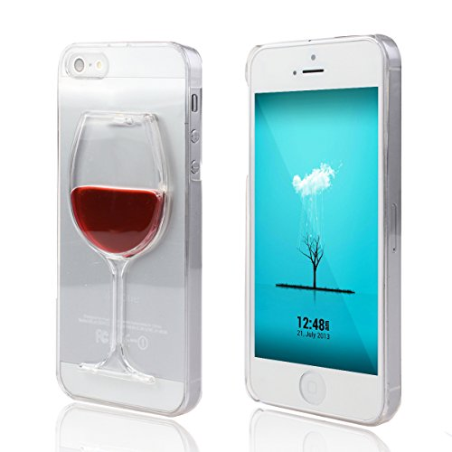new product b65df b3cae iPhone 4S Case, iPhone 4 Case,UZZO Red Wine Glass 3D Creative Design Hard  Shell Liquid Flowing Dual Layer Hybrid Bumper Double Protection Clear Hard  ...